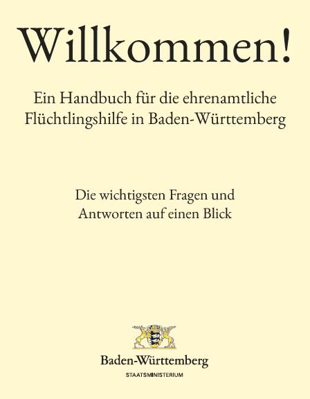 """Grafik """"Ein Handbuch für die ehrenamtliche Flüchtlingshilfe in Baden-Württemberg"""